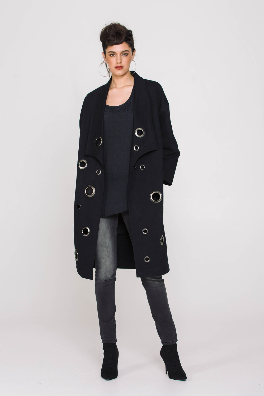 6110X Eyelet Coat Black