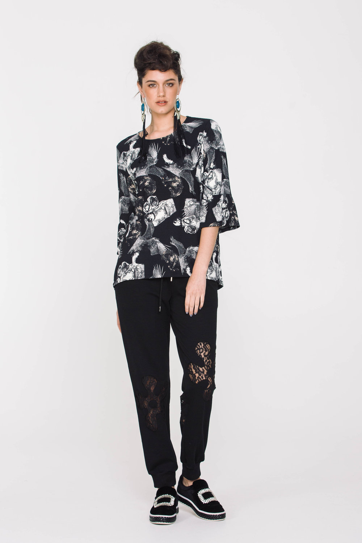 6115X Lace Insert Pants Black Flower 6106X Eliana Tee Horses Angels Black