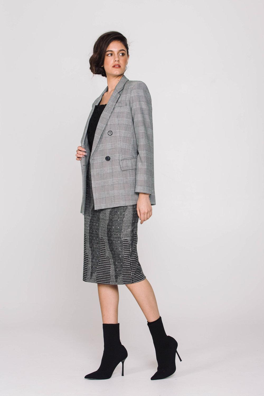 6171X Bennie Jacket Prince of Wales 4661X Skinny Skirt Valentino Houndstooth