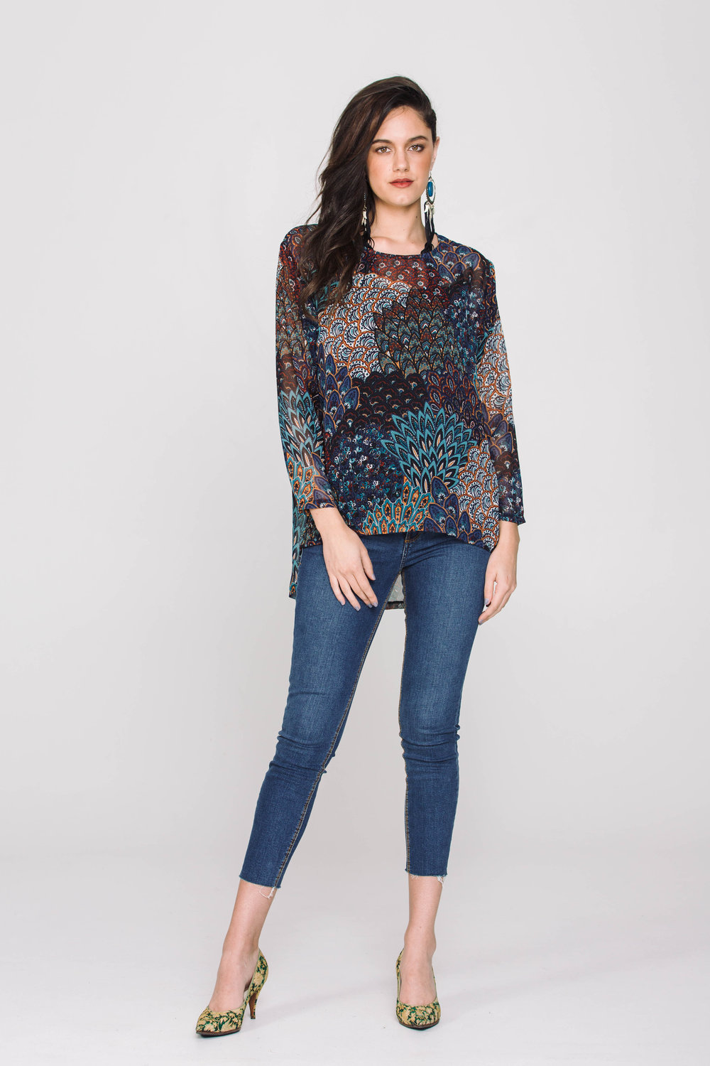 4405XL Long Sleeve Perfect Tee Forest Blue