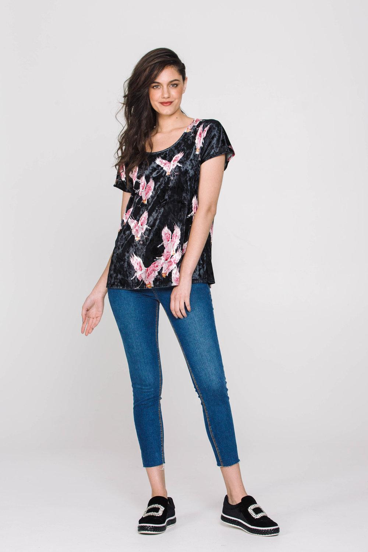 4832X Oasis Tee Flamingos Black