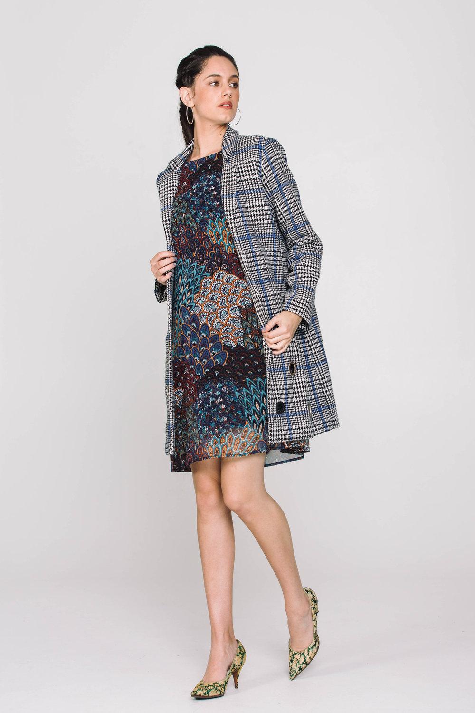 5906X Shilo Dress Forest Blue 5003X Junko Coat Blue Check