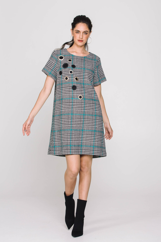 6019X Studded Factory Dress Blue Check