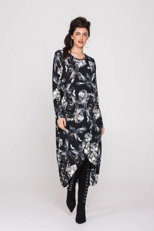 6175XA Swan Dress Horses and Angels Black