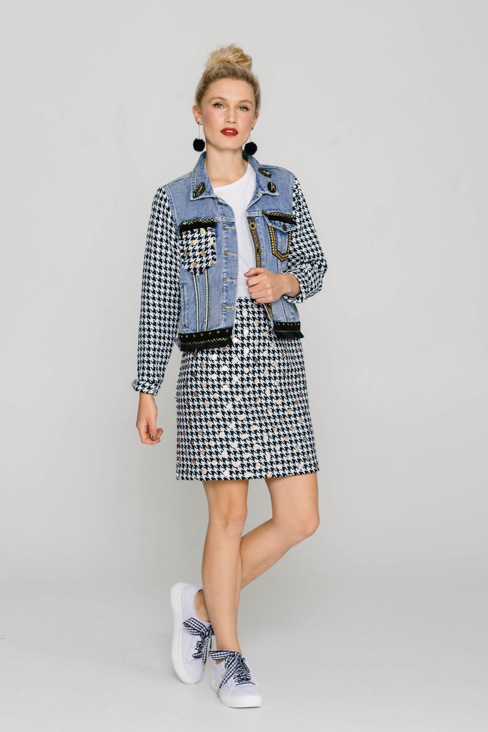 6199WB Denim Jacket 5740W Straight Skirt Chanel Silver
