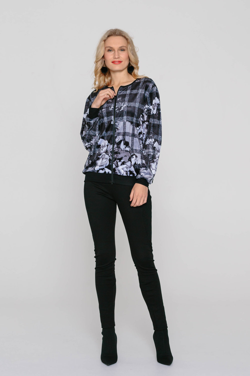 5328W Bomber Jacket Checked Rose