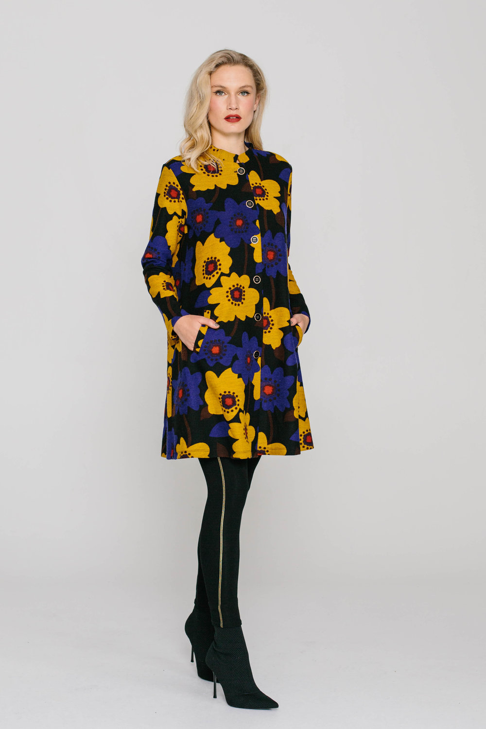 6053W Long Sleeved Tiffany Coat Delightful Dahlia