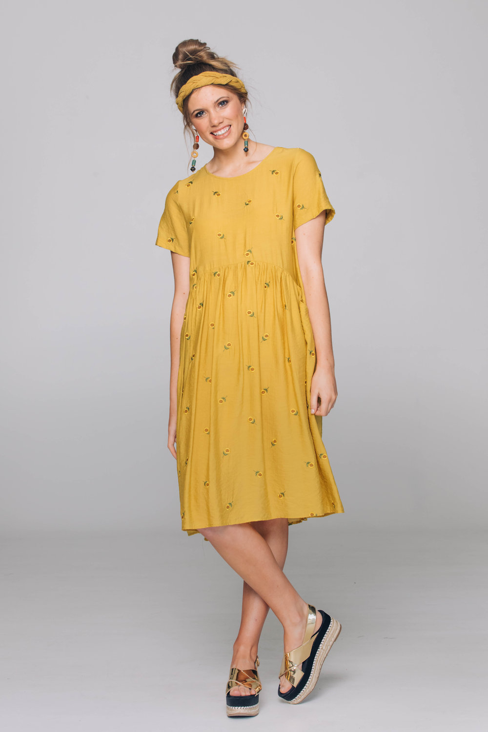 6177T Venice Dress, Suzu Sunflower Mustard