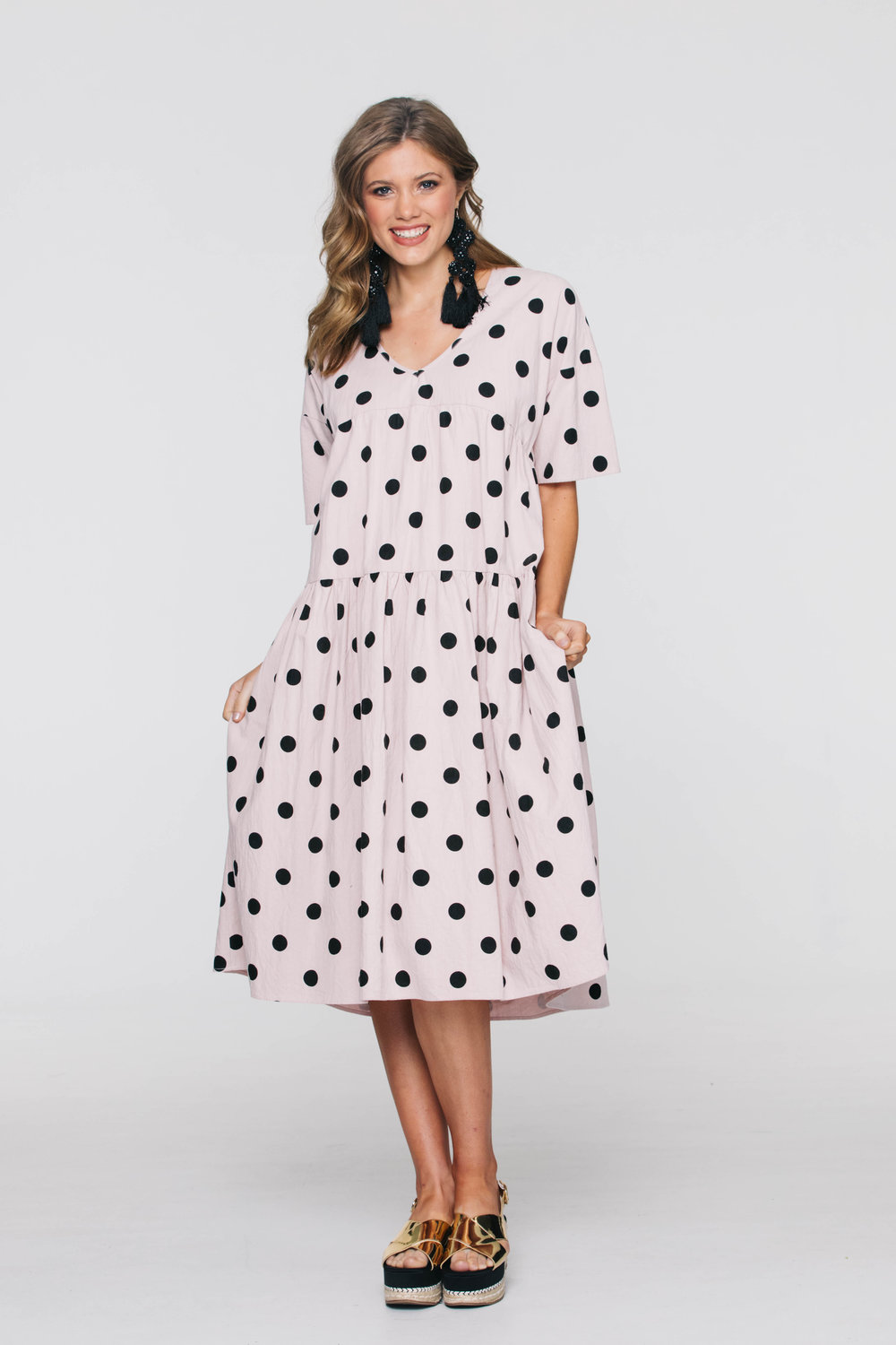 6241V Indie Dress, Small Pink Spot