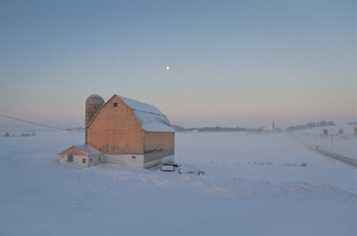 Peach Barn Farm Winter, by Wayne Brabender. All rights reserved.