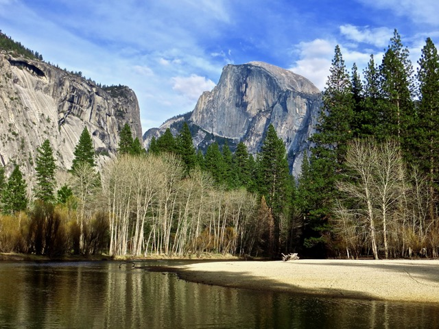 Half Dome from the Merced River in Yosemite Valley, by Paul J. Moderacki. All rights reserved.