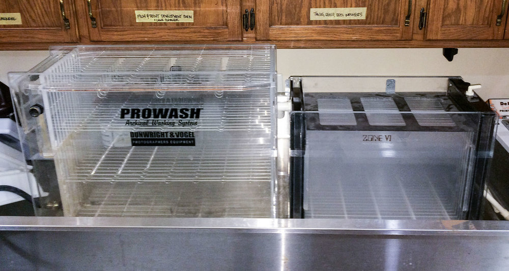 "Archival print washers, a Prowash for up to 17x21"" and a Zone VI for up to 12x16"""