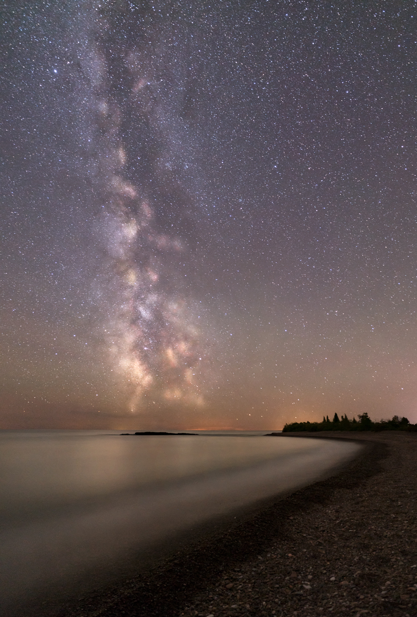 "Milky Way Over Lake Superior  by Diane Ramthun.  All rights reserved.  Yes, the universe had a beginning. Yes, the universe continues to evolve. And yes, every one of our body's atoms is traceable to the big bang and to the thermonuclear furnace within high-mass stars. We are not simply in the universe, we are part of it. We are born from it. One might even say we have been empowered by the universe to figure itself out – and we have only just begun. ""     Neal deGrasse Tyson  ""The Greatest Story Ever Told""  Natural History Magazine  March, 1998"