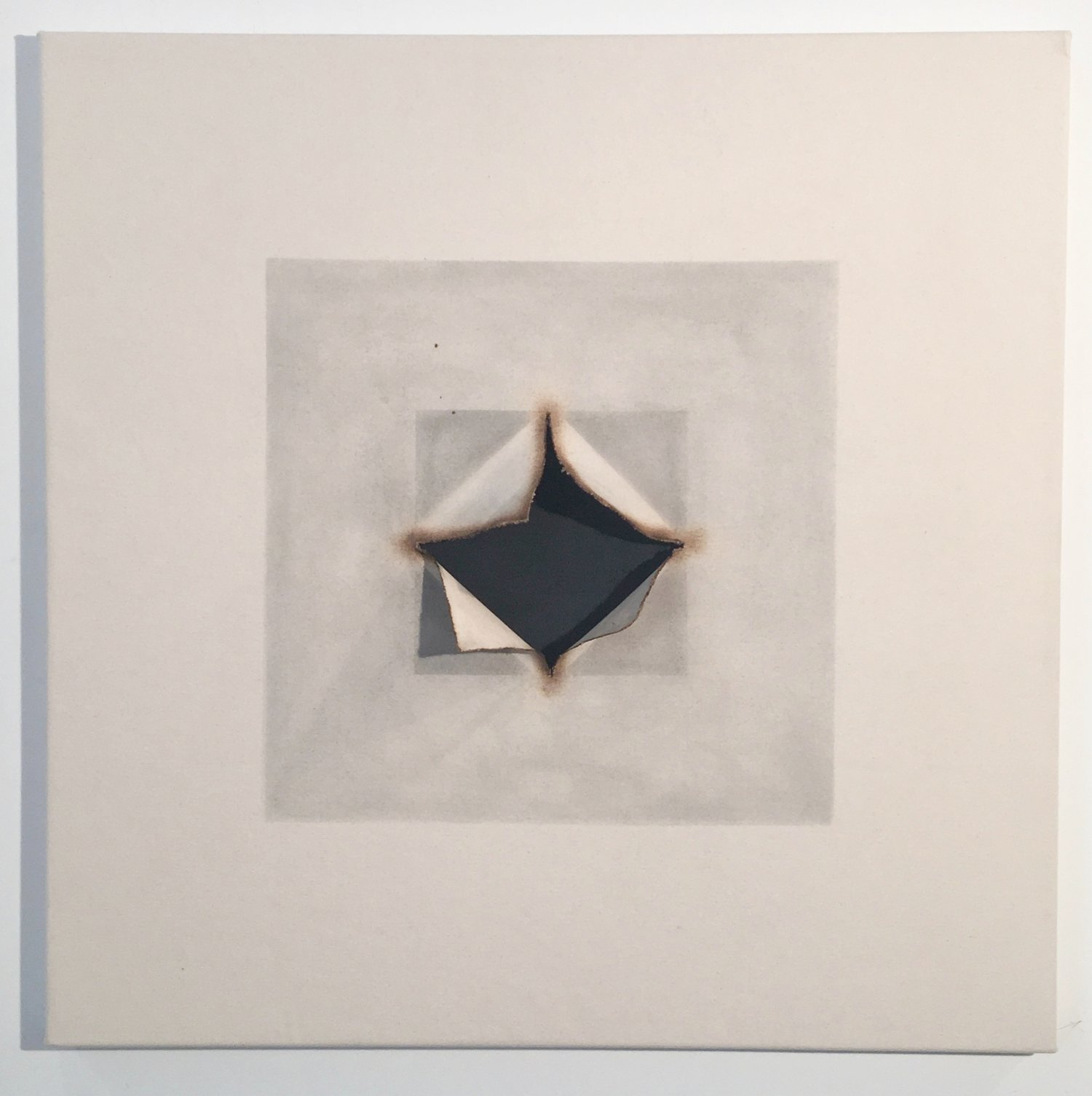 Fahrenheit Joan Wulf Origami Nut Spring Gape With Square 2017 Fire Metal Pigment Canvas 38 X