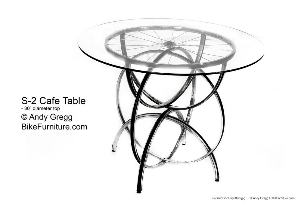 S-2 Cafe Table with 30 inch glass top.  30 inches high.