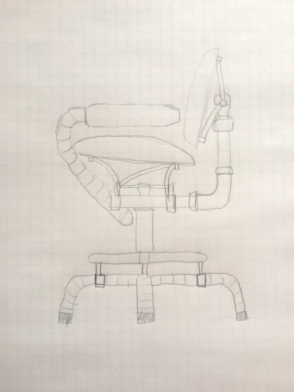 "This sketch shows a base that uses 1 3/4"" exhaust tubing that is wrapped, and finished at the bottom with exhaust tips.  The foot ring would be 1"" chrome tubing.  The base could also be made with handlebar-sized tubing (1 1/8"" or 1 1/4"" diameter) in chrome or powder coat in color choice. The bottom could be finished with handlebar grips in choice of style. The chrome mufflers that serve as arm rests at the end of the wrapped exhaust tubing can as short at 12"" and as long as 30"". The center column that connects the base to the seat/back assembly would contain a swivel. Parts that I normally paint or powder coat in black, can also be any other color."