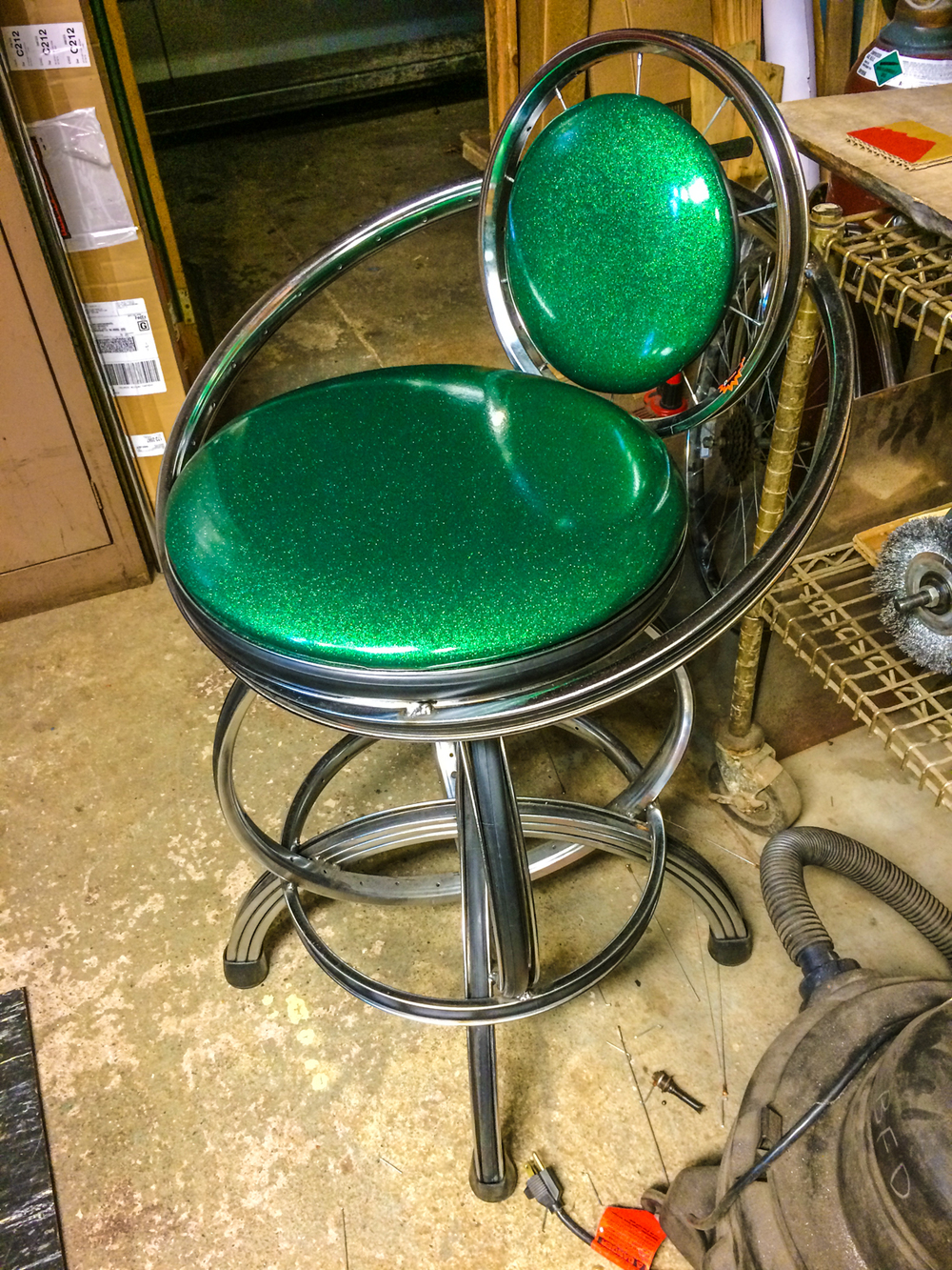S-2 Swivel Barstool with back,j green glitter cushions - qty 2 - COMPLETED