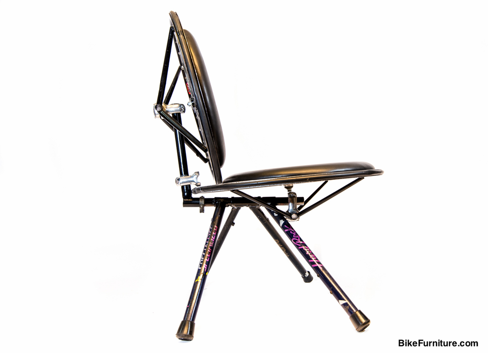 Stuffed 2 Chair made with bicycle frame tubes and wheels - Dining or Lounge
