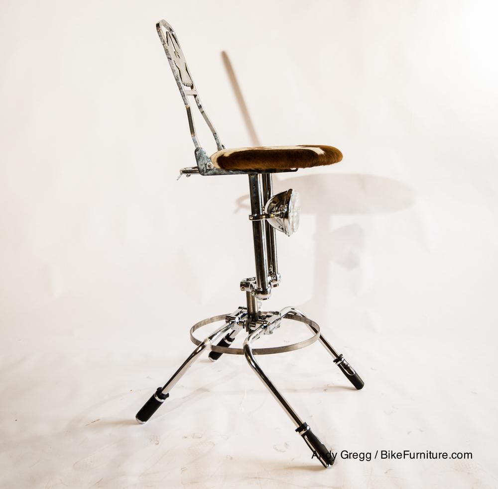 Swivel moto stool prototype - cowhide cushion