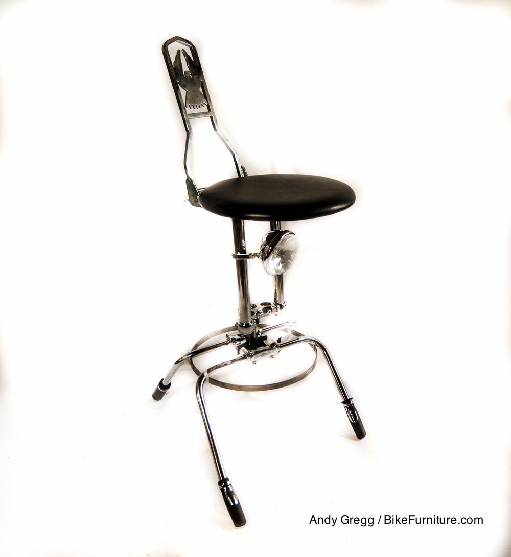 Swivel moto stool prototype - leather cushion