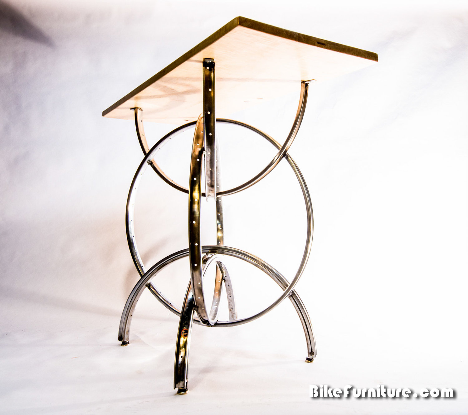 S 2 Console Or Bar Table Bicycle Wheel Table Wood Top Bike