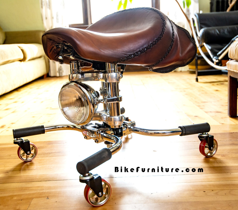 Moto stool casters - Imagine without wheels, and with the handlebar base pieces tilted down
