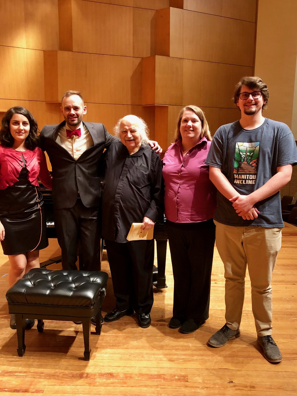 niloufar iravani (the midnight), me, maestro dinos constantinides (variations on an ancient greek theme), liz knox (three descriptive pieces), and austin franklin (five miniatures)
