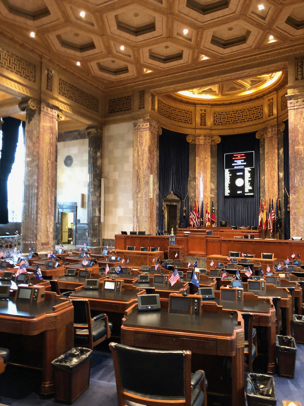 the senate chamber at the Louisiana state capitol