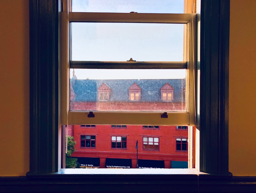 a view from New England Conservatory. the middle window, at top, is where Leonard Bernstein lived while in Boston
