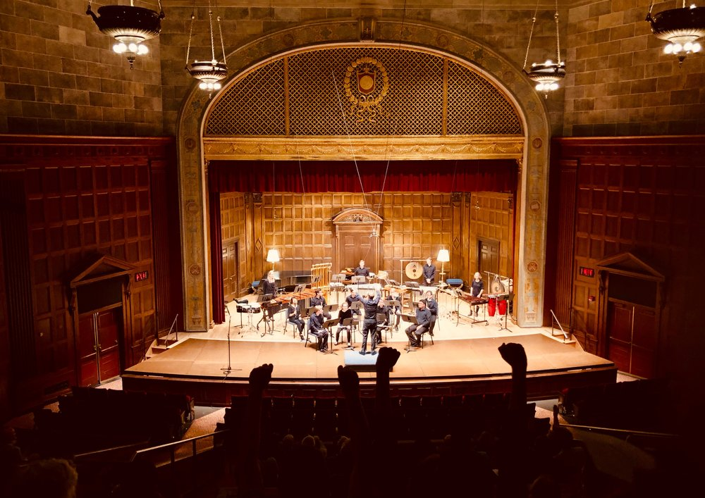 the gorgeous Kilbourn Hall at Eastman School of Music; the New Music Ensemble performed works of August Read Thomas and Webern among others.