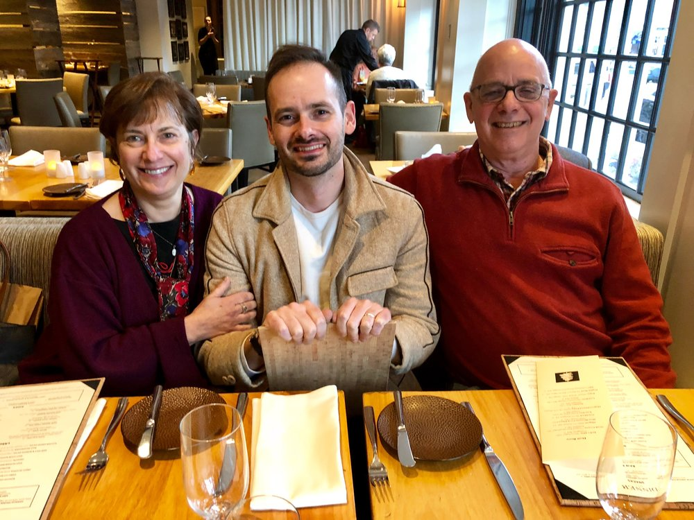 actually in Hanover, with my father and Esther, at the restaurant at Hanover Inn
