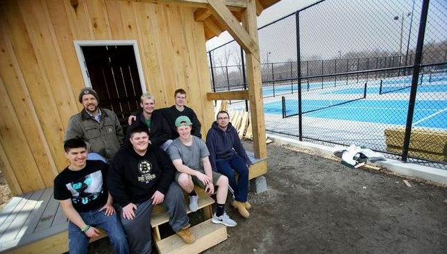 From Marshfield High's carpentry class, from left, seated, are Angel Ricci, CJ Lennox, Branden Dunn and Brian Long. In back are Tom Greland, instructor, Kiernan Foley and Matt Boudreau. They're outside the shed they built for the park.