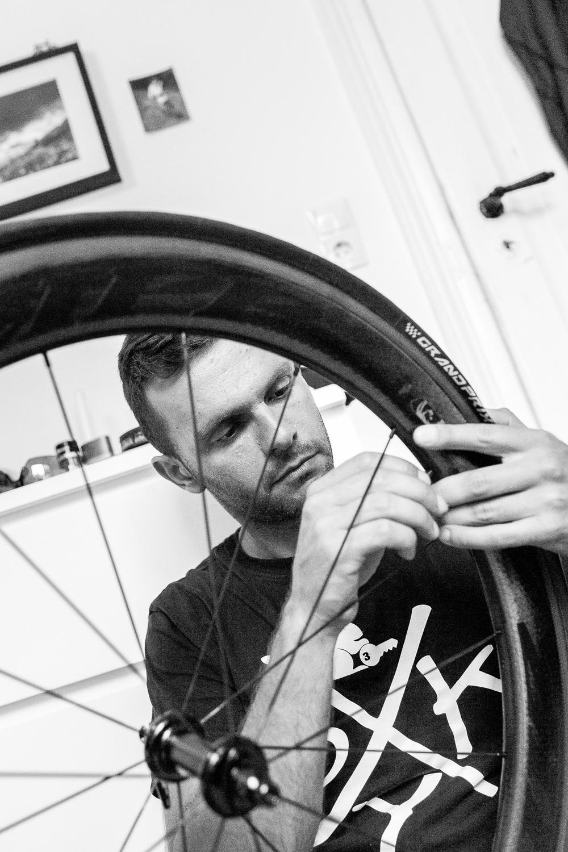 We are Triathlon   Alle Arbeiten am Rad führt Christian selbst durch.