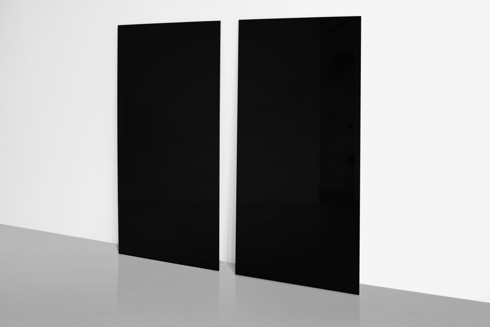 Beyond Black, 2010 -, Nano-sized grid on glass, 168 x 84 cm A grid is perceivable only on a nanometer scale; otherwise, the surface of the glass plates appears as a black, reflective, monochrome image.