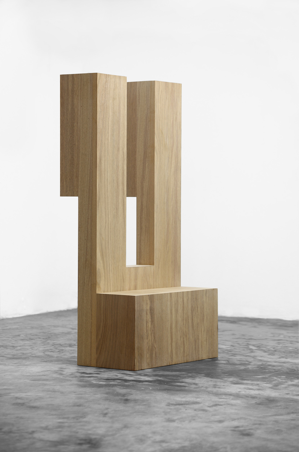 Untitled (Monument), 2013, Wood, 150 x 75 x 50 cm A three-dimensional replica of one of the first shapes drawn using the computer program Sketchpad developed by computer scientist Ivan Sutherland in 1963.