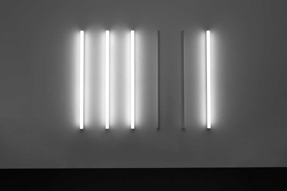Between Forms of Representation and Interpretation, 2010, LED light tubes, DMX controller, custom electronics, Variable dimensions The press release of the exhibition is delivered only as an encoded series of light patterns.