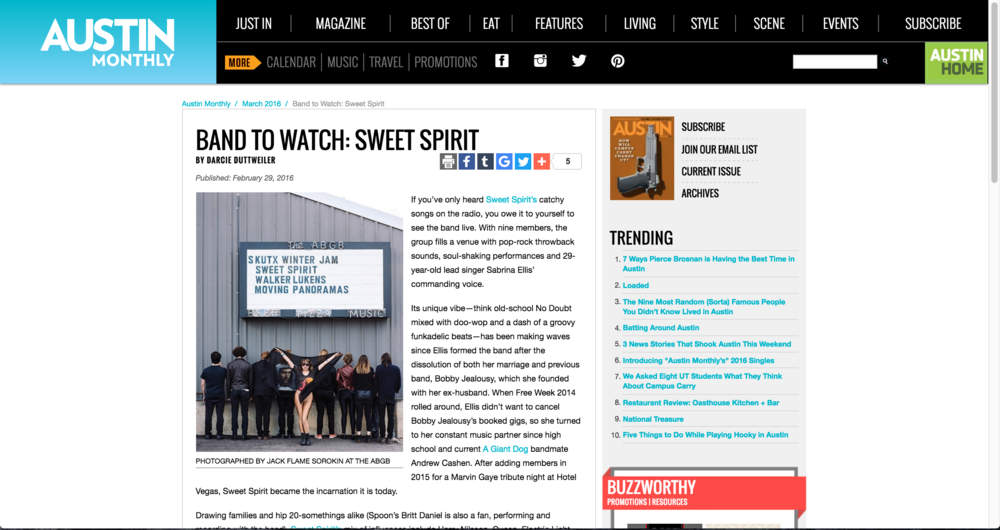 Austin Monthly Magazine Bands to Watch Sweet Spirit Photography by Jack Sorokin
