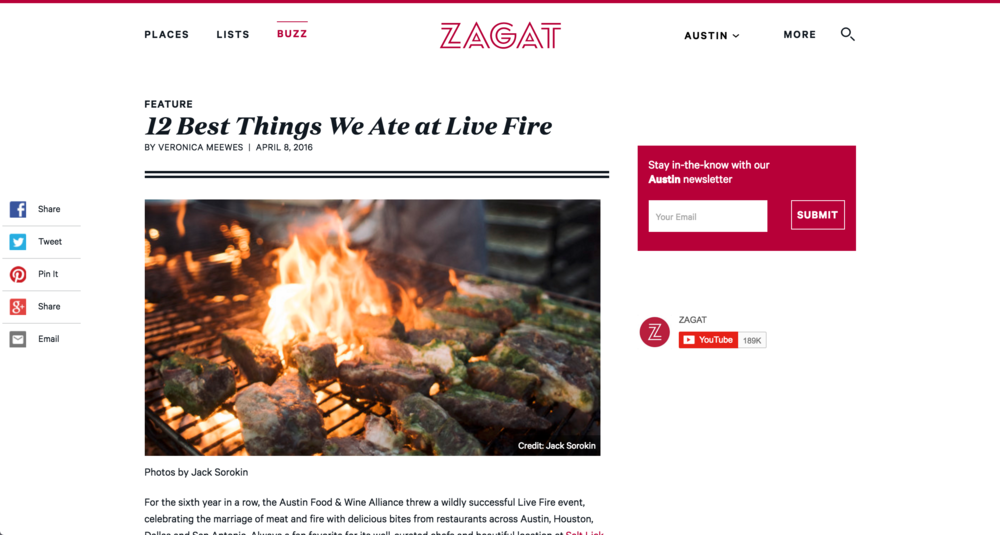 Zagat food photography by Jack Sorokin austin Texas Live fire BBQ event