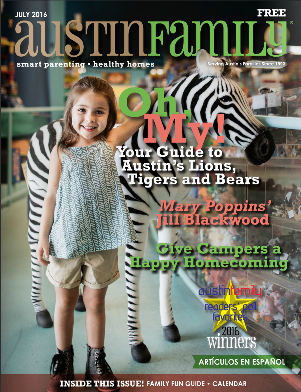 Cover of July 2016 Austin Family Magazine Portrait of Child in toy store photography by jack sorokin