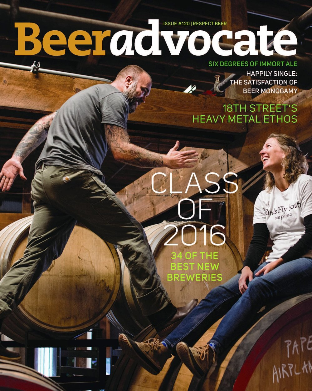Cover of Beer Advocate Magazine Issue #120 2017 | Portrait of Shawn and Lindsay Johnson of Birds Fly South Ale Project | Photography by Jack Sorokin