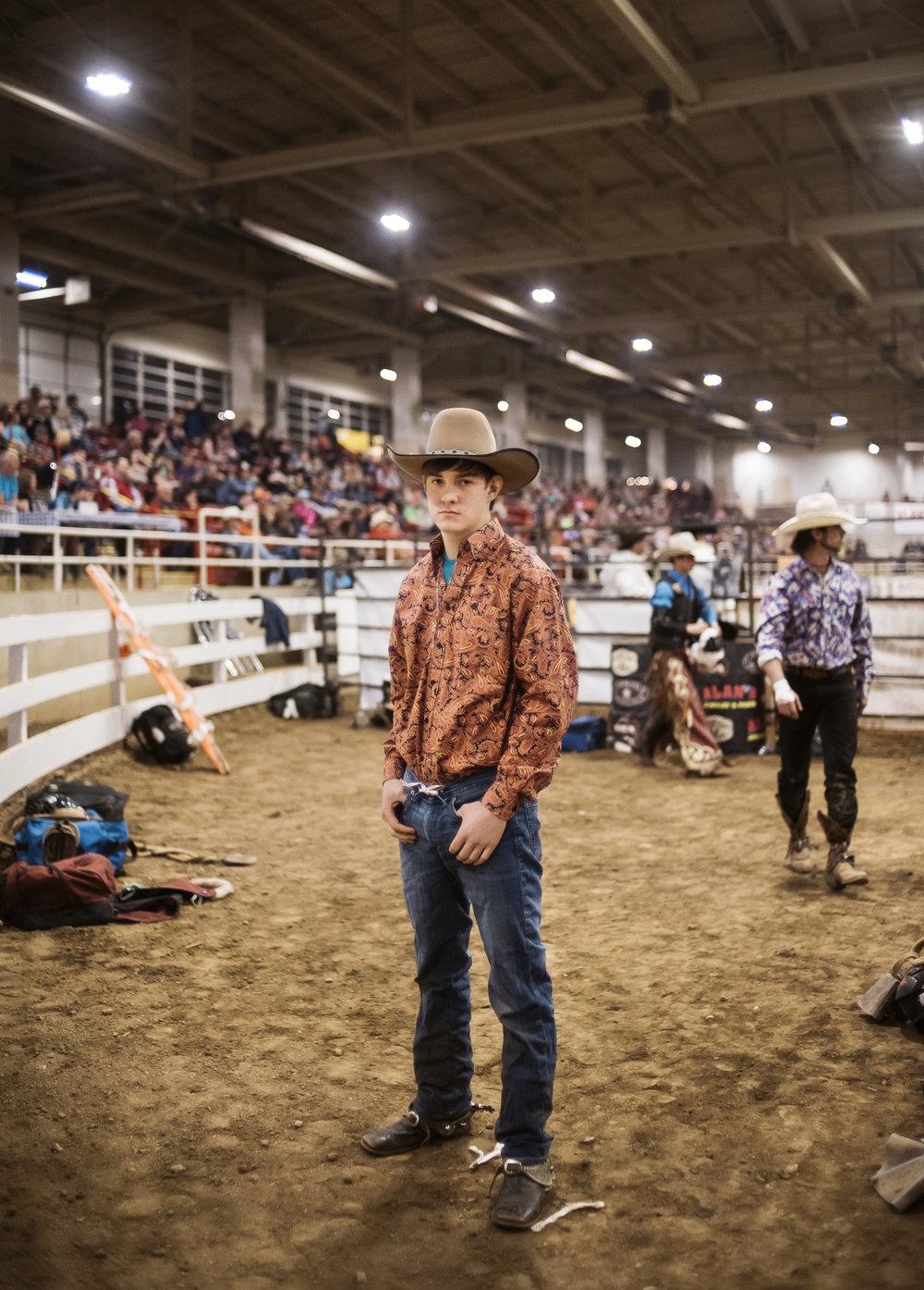 Portrait of bullrider at BullMania 2017 rodeo event in asheville North Carolina by Jack Sorokin