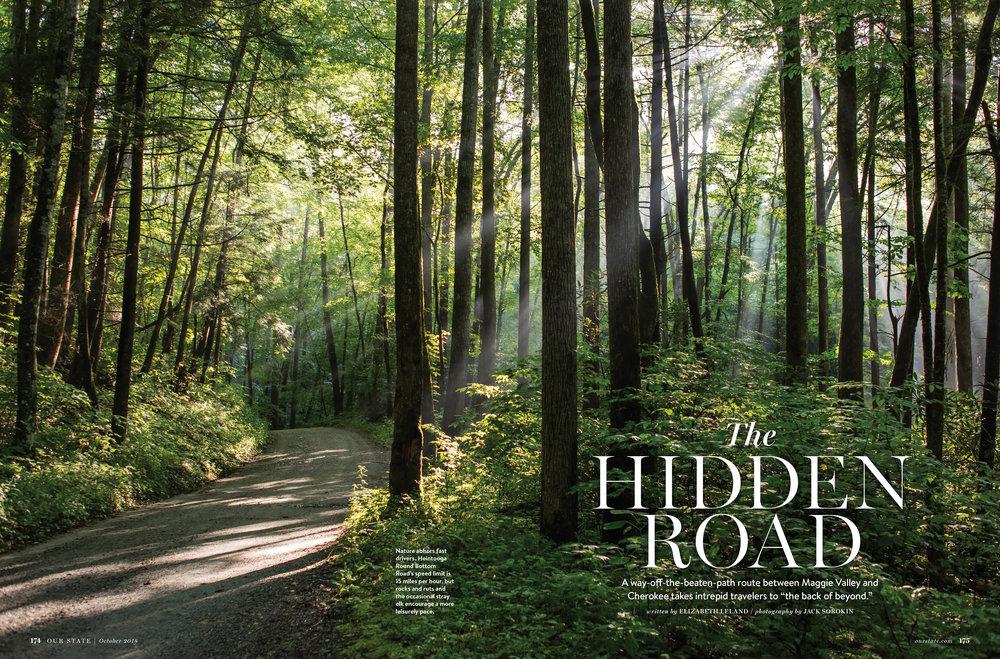 Our State magazine editorial october issue fall summer Jack Sorokin Flame Photographer North Carolina Heintooga Round Bottom road Masonic Marker Blue Ridge parkway WNC