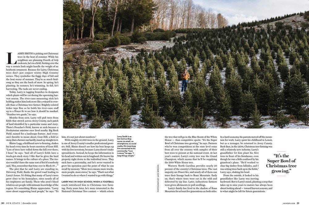 Our State Christmas Tree Spruce Pine Larry Farm Winter Magazine Jack Sorokin Photographer Photography Western North Carolina Asheville White House DC