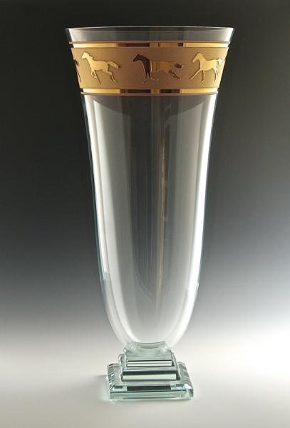 """20"""" Equus Vase w/ Gold"""