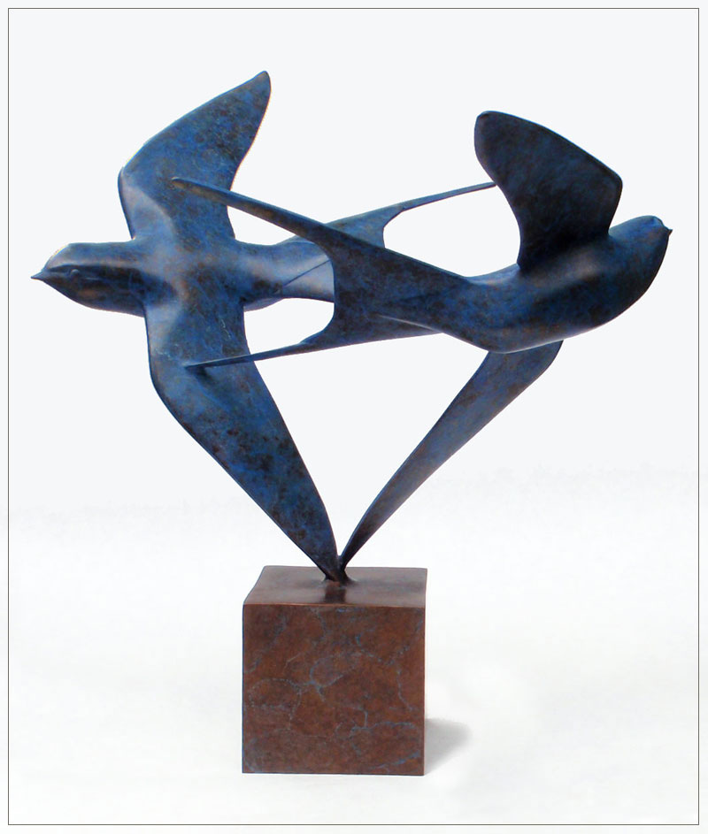 "Barn Swallows - © 2010 Kristine Taylor, Bronze, edition of 15, 12""H x 11""L x 12.5""W"