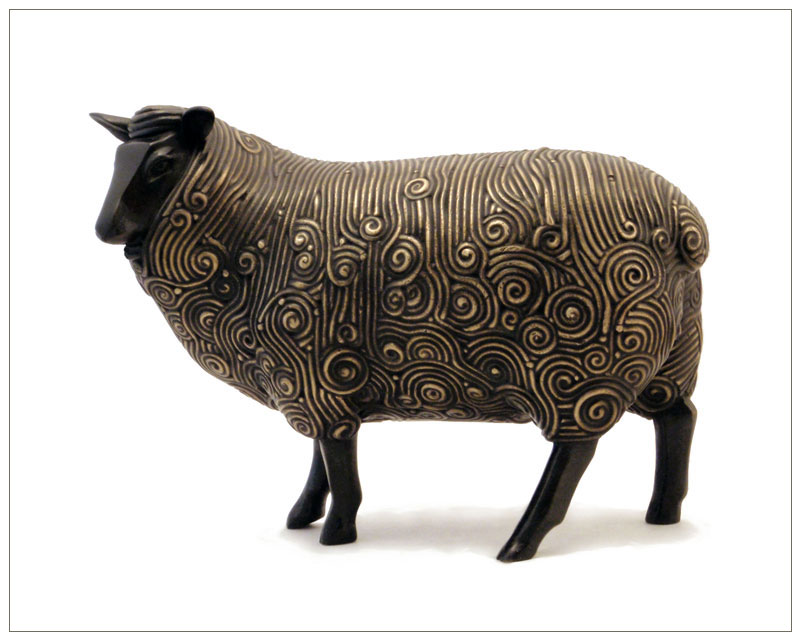 "Curly Ewe - © 2010 Kristine Taylor, Bronze, edition of 15, 7""H x 9.5""L x 4""W"