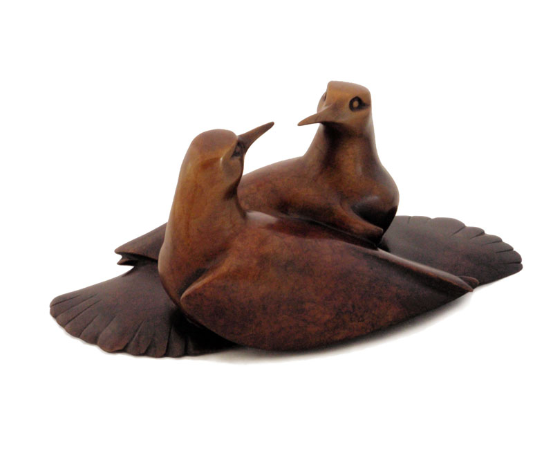 "Courting Birds - © 2009 Kristine Taylor, Bronze, edition of 15, 5""H x 10""L x 5""W"