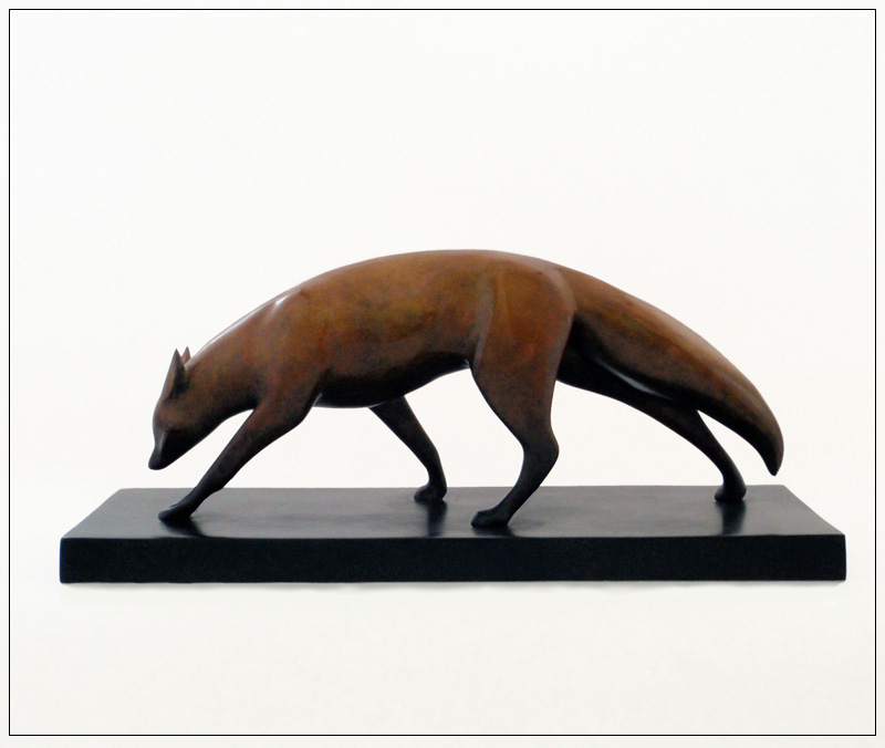 "Night Fox - © 2011 Kristine Taylor, Bronze, edition of 15, 5.5""H x 12.5""L x 4.25""W"