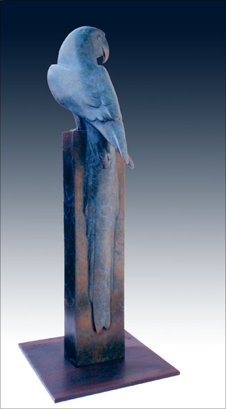 "Macaw - © 2012 Kristine Taylor, Bronze, edition of 15, 22""H x 8""L x 8""W 2014  Awarded Pat Munson Prize for avian sculpture, National Sculpture Society's 81st Annual Awards Exhibition"