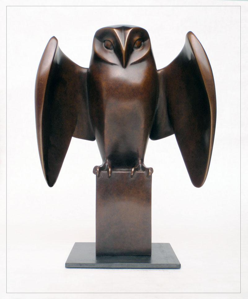 "Owl - © 2012 Kristine Taylor, Bronze, edition of 15, 10""H x 5""L x 7""W"